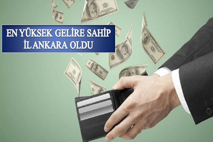 Türkiye'nin en yüksek gelire sahip ili Ankara oldu