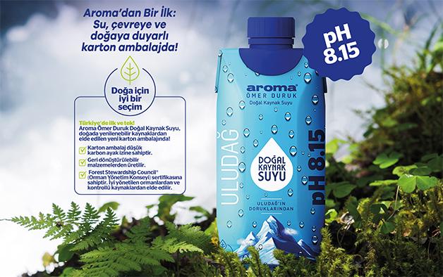 Aroma'dan çevreye ve doğaya duyarlı karton ambalajda doğal kaynak suyu